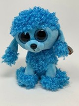 "Ty Beanie Boos Mandy Blue Poodle Dog Plush 6"" Glitter Eyed Stuffed Anima... - $7.82"