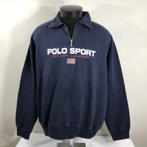 VTG Ralph Lauren Polo Sport Sweatshirt Spell Out Flag Stadium Bear XL 90... - $80.99