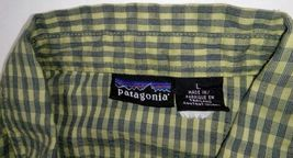 Patagonia Men's Green L short-sleeve button-down checkered Breast Pocket shirt image 8