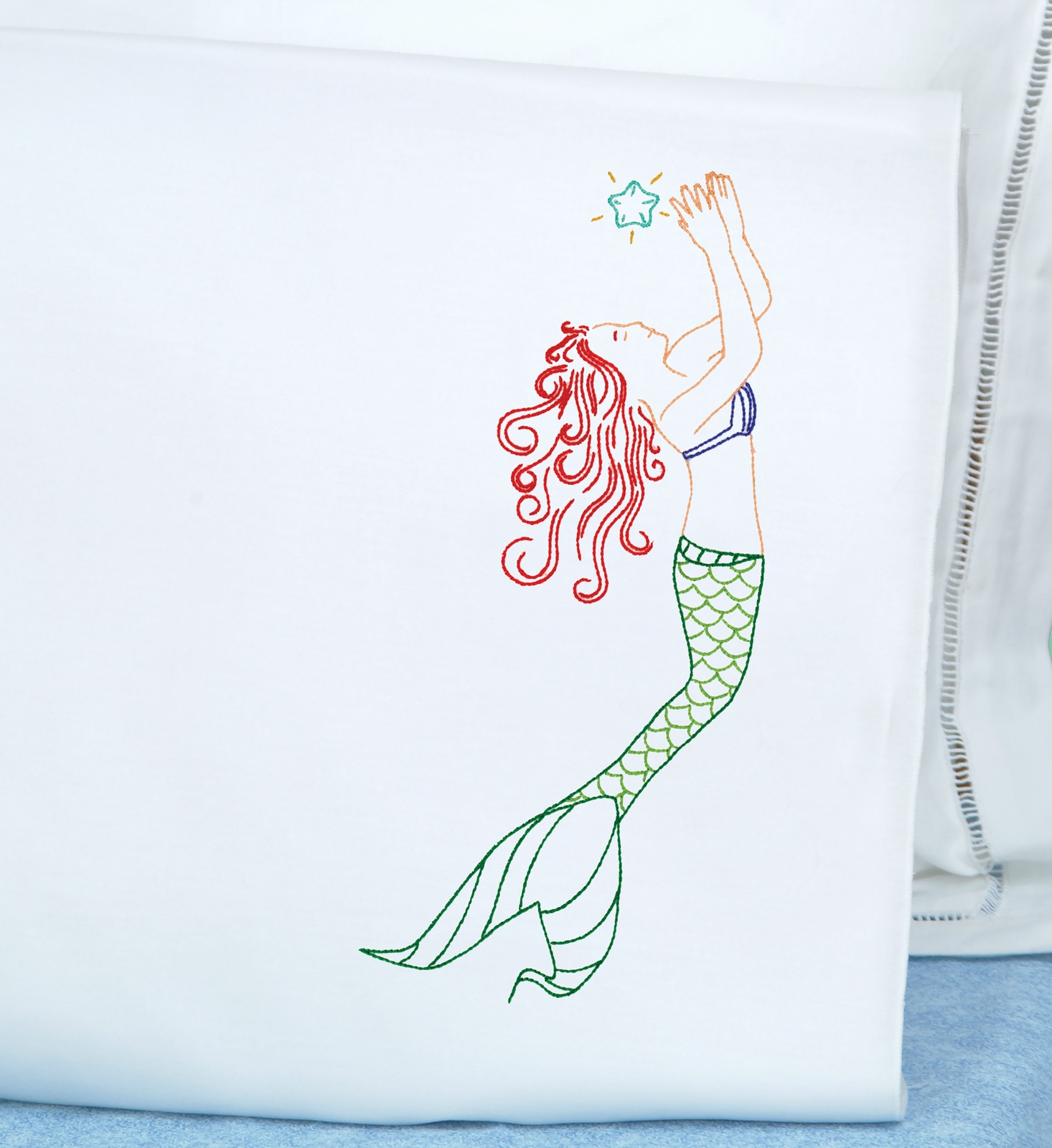 Primary image for Jack Dempsey Stamped Pillowcases W/White Perle Edge 2/Pkg-Mermaid