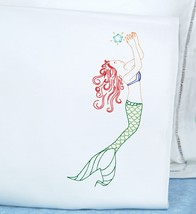 Jack Dempsey Stamped Pillowcases W/White Perle Edge 2/Pkg-Mermaid - $14.33