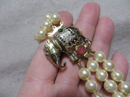 Vintage Italy GF metal Lucky rhinestones Clasp Triple Stand Faux Pearls ... - $69.99
