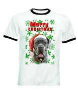 Neopolitan Mastiff snowflakes merry christmas P1- RINGER COTTON TSHIRT - $19.59