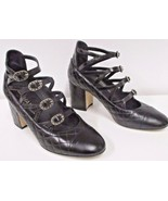 CHANEL Black Leather Quilted Cuba Link Shoes w/ Decorative Gold Buckles ... - $499.99