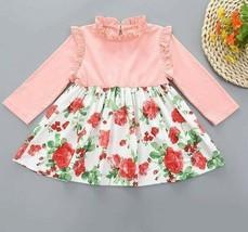 Toddler Girls Floral Print Combo Mock Neck Frill Trim A-Line Flared Shor... - $32.99
