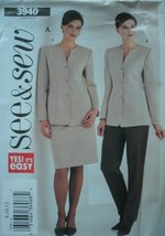 Misses Misses Petite Jacket, Skirt And Pants Sizes 8-10-12 Easy See & Sew By But - $9.80
