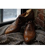 Unique Brown Handmade Wingtip Brogue Leather Lace Up Party Wear Shoes - $158.99