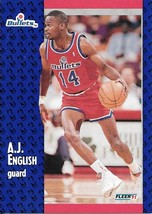 A.J. English ~ 1991-92 Fleer #206 ~ Bullets - $0.05
