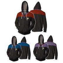 Star Trek Voyager Commander Captain Zipper Sweatshirt Costume Hoodie Jacket - $21.99