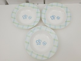 Disney Rimmed Pasta Soup Bowls Set of 3 Butterflies Green Blue Plaid Bor... - $29.02