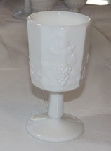 "Milk Glass Wine Goblet 3"" Wide X 5.75"" Tall Grape Vine Pattern Vintage ~ - $17.81"