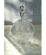 Globe Shaped Footed Crystal Candy Dish W/ Lid w/ a Spire - $35.28