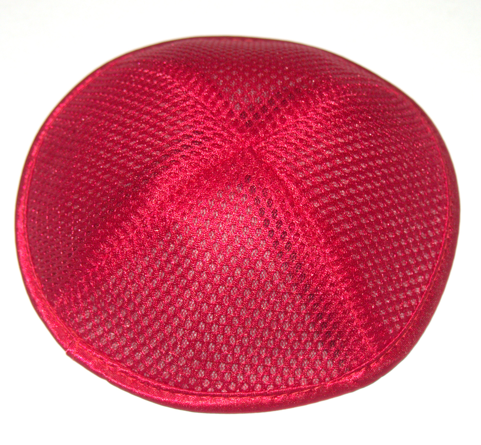 Judaica Dark Red Kippah Mesh Net Fabric Pin Spot 19 cm Israel Jewish Tradition