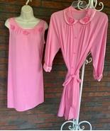 Vintage Vanity Fair Nylon Set Small Pink Sleeveless Nighty Gown 3/4 Sleeve Robe - $73.50