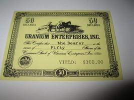 1964 Stocks & Bonds 3M Bookshelf Board Game Piece: Uranium enterprises 50 Shares - $1.00