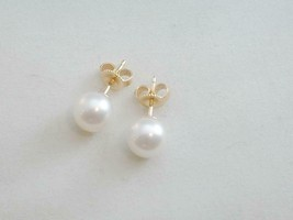 ESTATE Mikimoto Cultured Pearl Stud Earrings 7.5mm 18k Yellow Gold - $350.00
