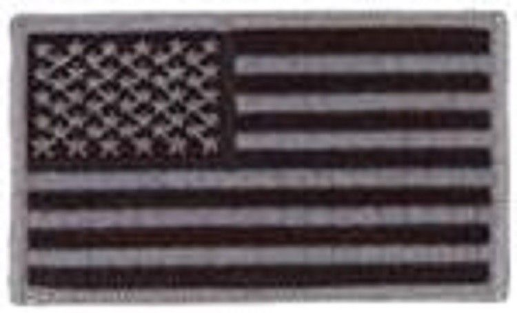 Primary image for AMERICAN FLAG BLACK GREY  2 X 3  EMBROIDERED UNIFORM SHIRT PATCH HOOK LOOP