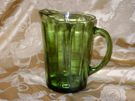 "VINTAGE GREEN GLASS WATER PITCHER 8"" TALL LARGE 56 oz. PANELS HEAVY MID-... - $19.49"