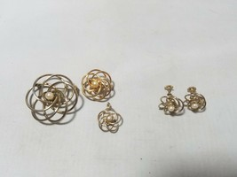 Vintage Fashion Earrings Metal Flower Faux Pearl & 2 Matching Brooches - $21.38