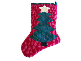 Amish Handmade Christmas Trees Stocking Green Red Hearts - $18.66