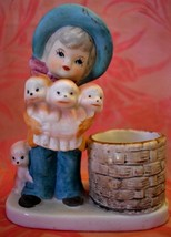 Girl with Dogs Candle Holder tealight hand painted porcelain Little Luvk... - $11.87