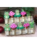 frog Paper Clips,wood clothespin,Children's Birthday Party Favor Decorat... - $3.20+