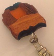 Owl Keychain Inlaid Wood Resin Figural Bird Brown Green Amber Key Ring image 5