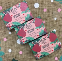 3 Pack ~The Body Shop Special Limited Edition Festive Berry Vegan Soap 75g NEW - $19.70