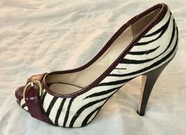 """Steve Madden Black White Red Zebra Print Lezlie Leather Peep Toe 4"""" Heels US 6.5 - $16.99"""