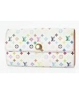 Auth LOUIS VUITTON Sarah White Multicolor Long Wallet Zipper Coin Purse ... - $143.10