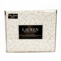 Ralph Lauren Cal California King Extra-Deep Sheet Set Floral Taupe/Tan/B... - $121.17