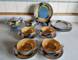 Vintage Japan Lustreware Dessert Plates Cups Saucers Creamer Sugar Bowl - $12.99