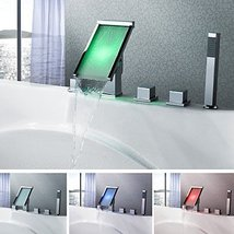 Contemporary Waterfall Color Changing LED Tub Faucet Chrome Finish - $408.82