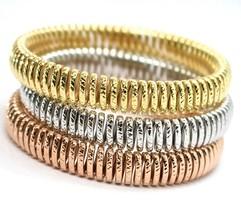 Bracelet en or 750 18K, Jaune ou Blanc Rose, Semi Rigide, Travaillé, Éla... - $2,893.12+