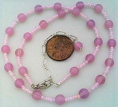 Pink Opal Glass Beaded Necklace - $27.15