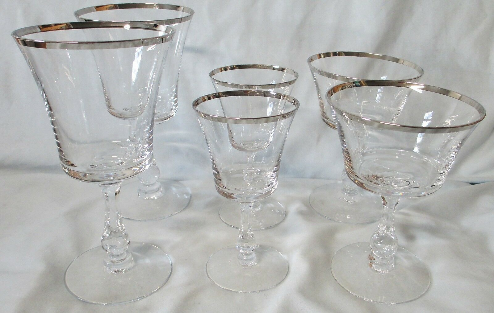 Primary image for Fostoria Crystal Platinum Sheffield Water, Wine, Sherbet Goblet set of 6