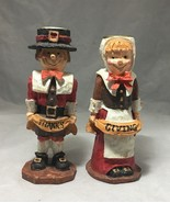 "Candle Holders Thanksgiving Pilgrim Couple 5 ½"" H for 7/8"" size candles - $8.94"