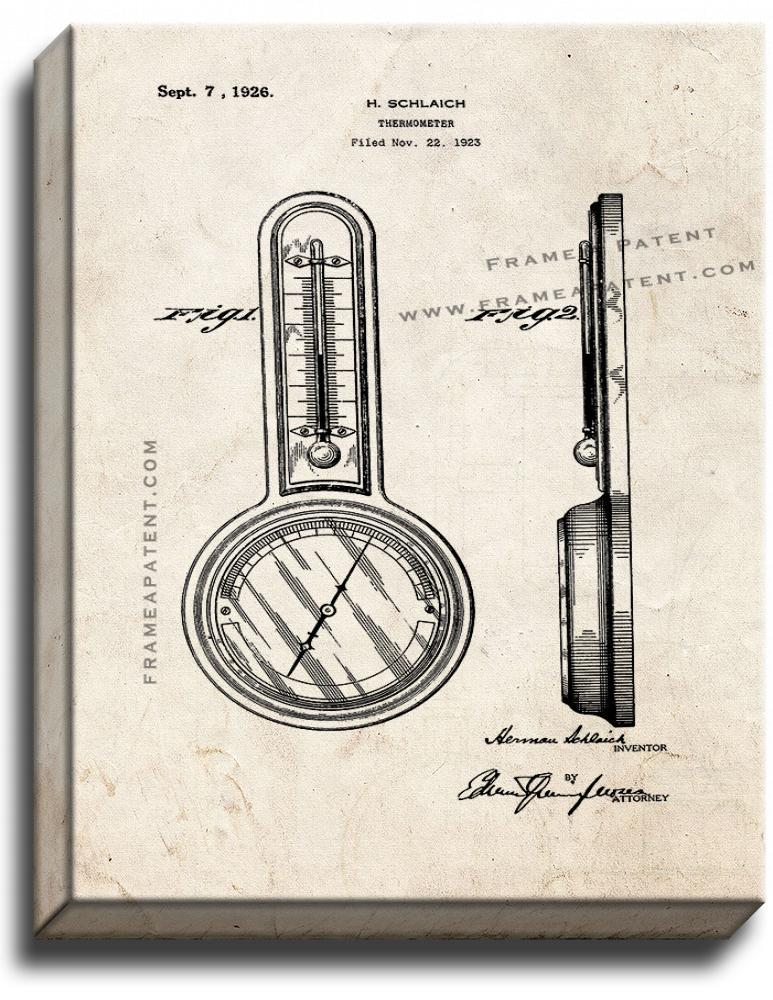 Primary image for Thermometer Patent Print Old Look on Canvas