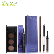 Dexe Eye Makeup Set Eyebrow Powder Palette + Coffee Brown Eye Brow Pencil + - $18.99