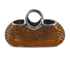 Decorative Amber Ceramic & Glass Purse Flower Vase DMCV010 Dolce Mela Os... - $34.97