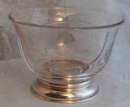 "5.25"" Vintage Divided Bowl with Sterling Silver Base Floral Fern Condime... - $30.00"