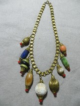 Art Deco Czech Brass Book Chain Necklace Choker w/ Art Glass/Wood Charms decor - $64.99