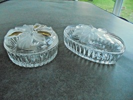 Lot of Two Covered Crystal Keepsake Boxes Studio Nova Frosted Flowers - $11.88