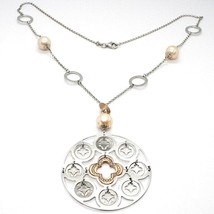 Silver 925 Necklace, Pearl, Pink Medallion Pendant, Knitted, Disc - $127.06
