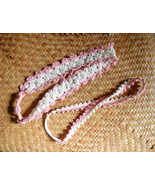 Crochet White and Pink Headband (Wide & Thin) / Crochet White and Pink H... - $13.50+
