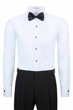New Berlioni Italy Men's Premium Tuxedo Dress Shirt Wingtip Collar Bow-Tie White