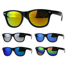 Child Kids Size Hipster Black Horn Rim Plastic Color Mirror Sunglasses - $9.95