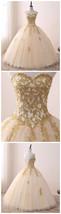 A line Ball Gowns Sweetheart Gold Prom Dress wedding Dress - $265.00