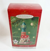 Hallmark 2001 NIB Lighthouse Greetings #5 Magic Light Santa Mrs Claus Or... - $14.95