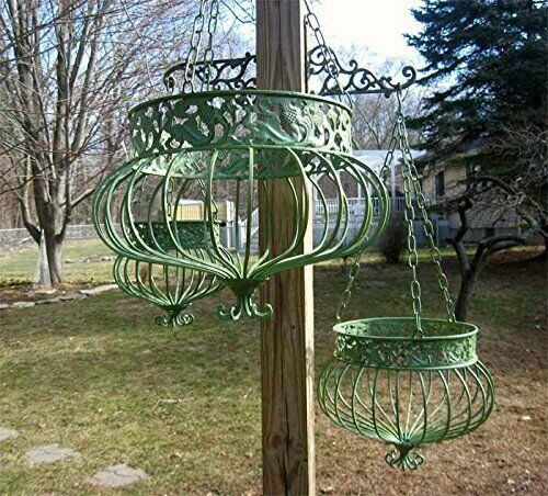 S/3 Hanging Basket Planters Green Victorian Style 3 sizes Wrought Iron Metal